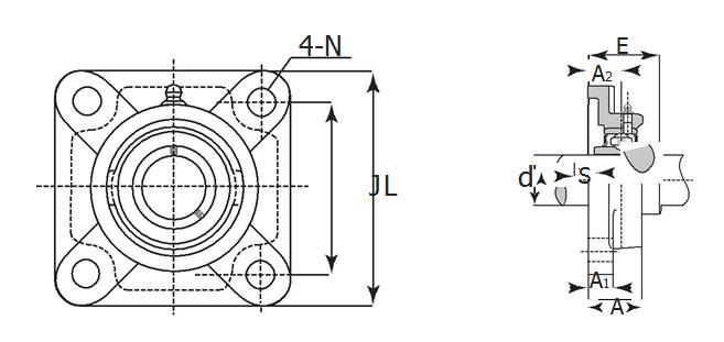 Four-Bolt Holes Flange Unit